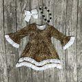 Девушки детская одежда дети хлопок Осень-Зима кружева печати Леопарда платье бутик длинным рукавом с соответствующими ожерелье и лук набор