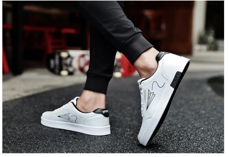 2019 Men Shoes Spring Autumn Casual PU Leather Flat Shoes Lace-up Low Top White Male Sneakers Tenis Masculino Adulto