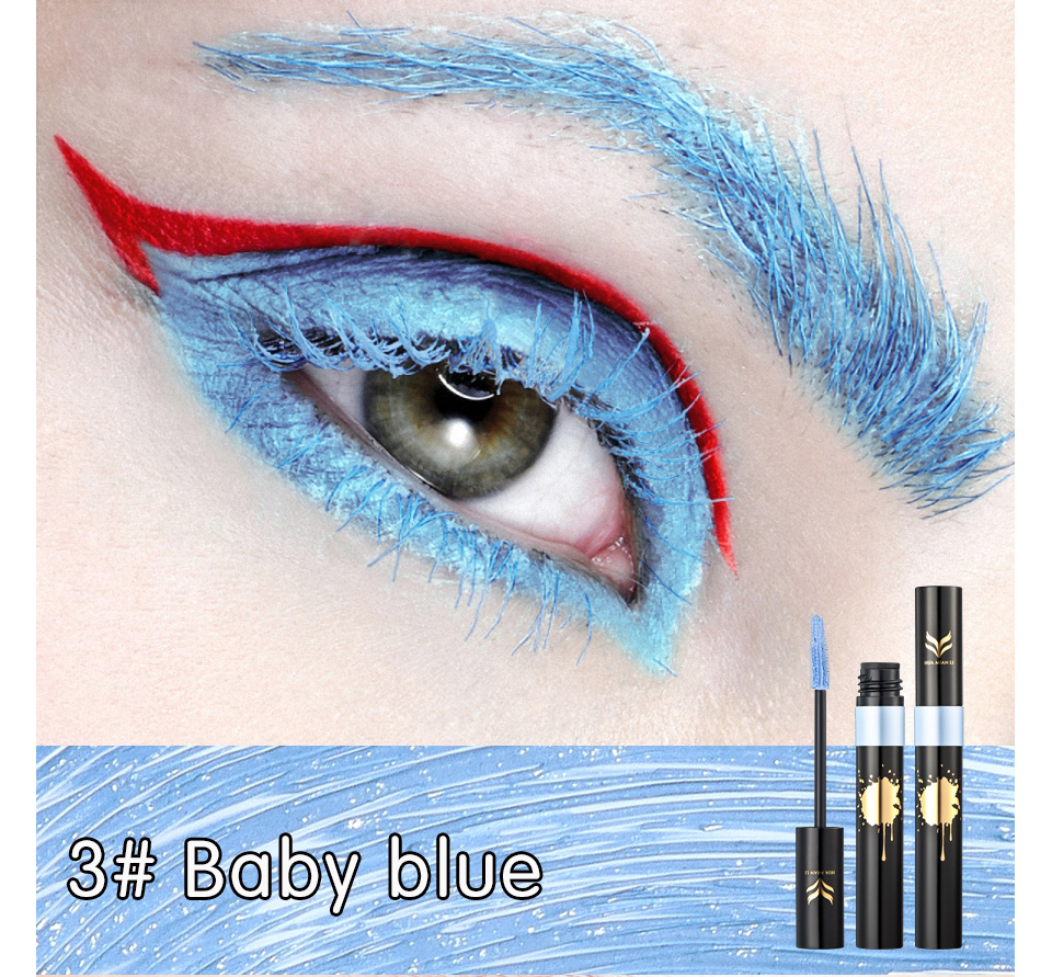 HUAMIANLI Colorful Green Blue Mascara Waterproof Lengthening Curling Eye Lashes Silicone Women Professional Makeup 3D Mascara 9