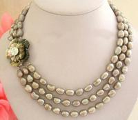 Stunning Real Pearl Jewellery, 3 Rows AA 9 11mm Gray Baroque Freshwater Pearls Necklace,Shell Flower Clasp.