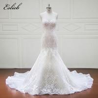 Eslieb Vestido De Noiva Sleeveless Wedding Dresses 2018 Sweethart Appliques Lace A Line Bridal Gown Plus