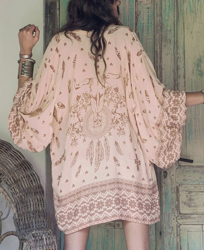 Women Shirt Kimono Boho Cardigan Vintage Geometric Print Blouse Loose Shawl Lady Bohemian Coat Jacket Two Color 5