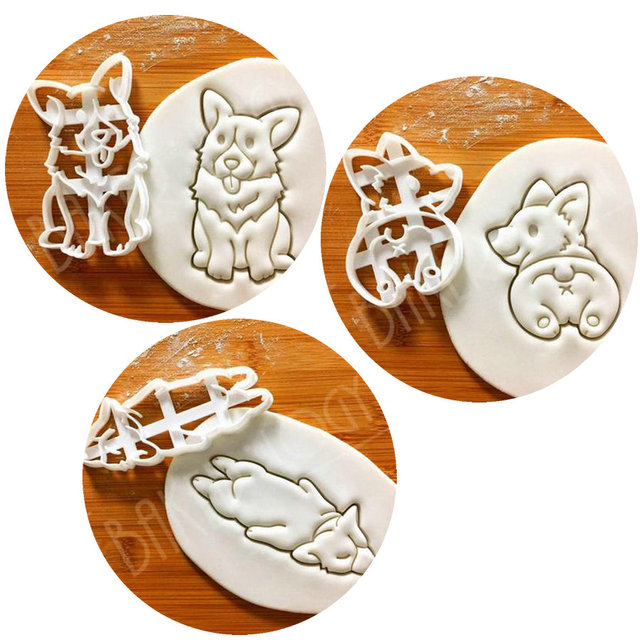 3 pcs Dog Corgi Cookie Cutter Khuôn Hoàng Gia Pet Hình Dạng Khuôn Bột Biscuit Pastry Fondant Công Cụ Đối Với Wedding Bữa Tiệc Sinh Nhật bánh Trang Trí Nội Thất