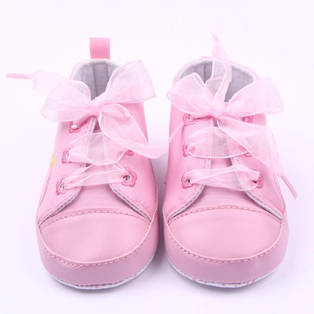 a4b2a3d72ea4b Bébé princesse rose chaussures pour filles à lacets Sneaker premier  marcheur nouveau-né bottes pour