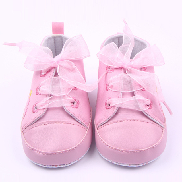 4143c5c3b Baby Princess Pink Shoes for Girls Lace Up Sneaker First Walker Newborn  Boots for Kids Infant Toddler Slippers Soft Sole Trainer
