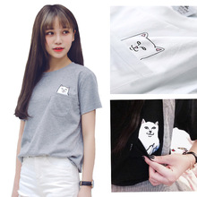 Summer T-shirt Women Casual Top Tees Cotton Tshirt Female Brand Clothing T Shirt Printed Pocket Cat Top Cute Tee HYK-22