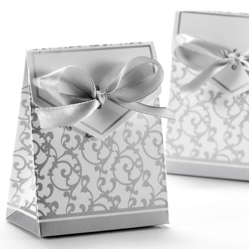 50x Boite eine Dragee Hochzeit Dekoration Zubehör Taufe Blume Fete Argente geschenk box silber phantasie geschenk-boxen