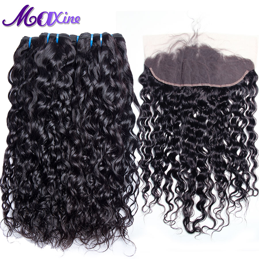 Maxine Hair 3 Bundles Brazilian Water Wave Pre Plucked Lace Frontal Closure With Bundles Human Hair