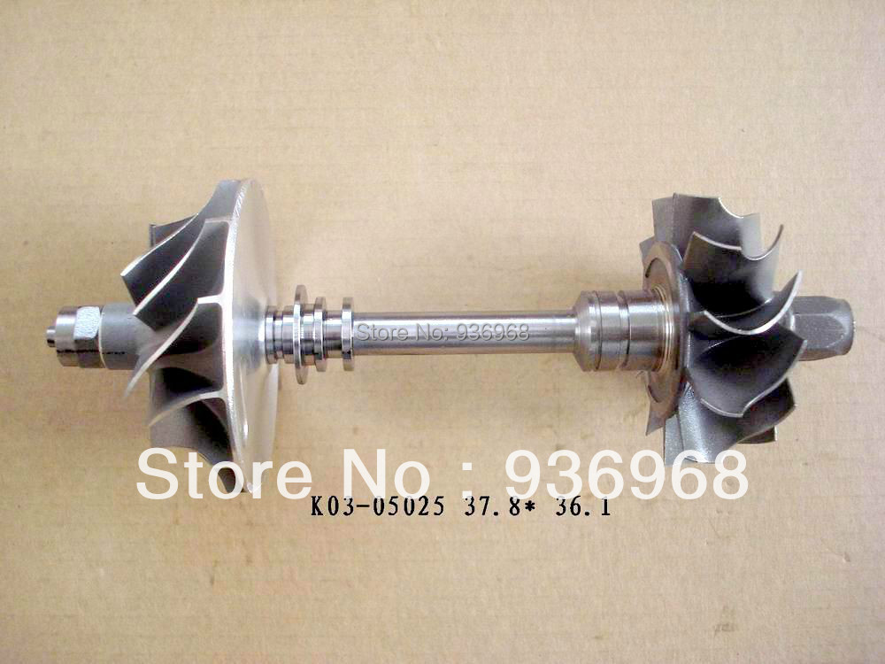 K03 Turbine wheel 37.8x45mm, Compr wheel 35.8x50mm,K03 Turbo part/Rebuild kits rotor in assembly supplier AAA Turbocharger Parts