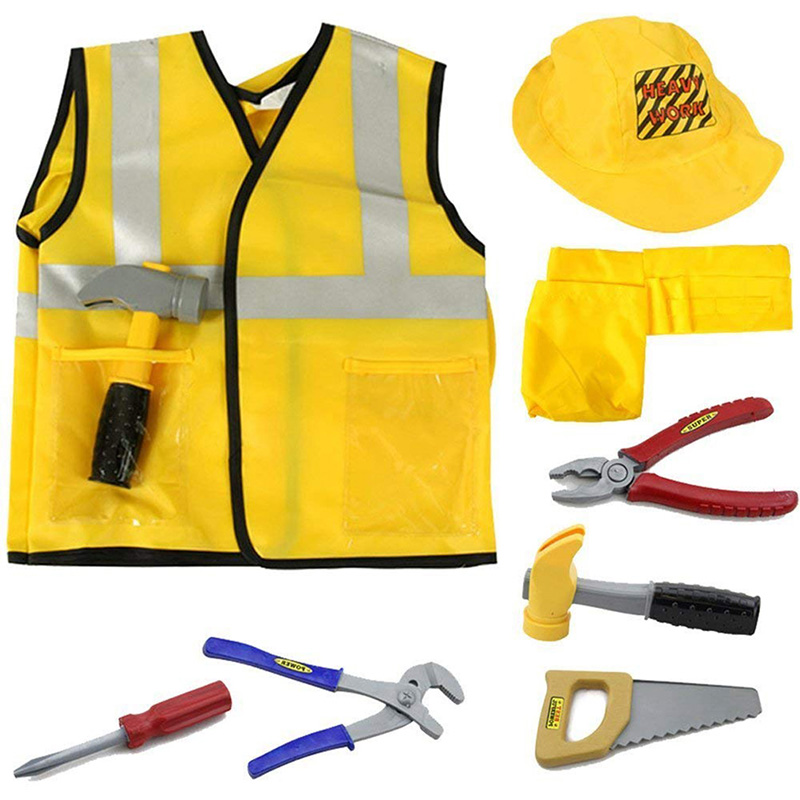 Hot Sale Construction Worker Costume Role Play Dress Up Educational Toy Kids Boys Girls Kit Set Performance Props