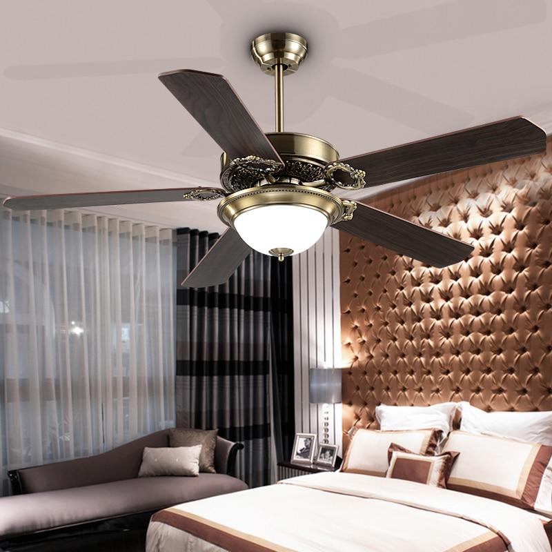 Ceiling Lamp Decorative: 48inch Magic Iron Led Fan Lamp European Antique Ceiling