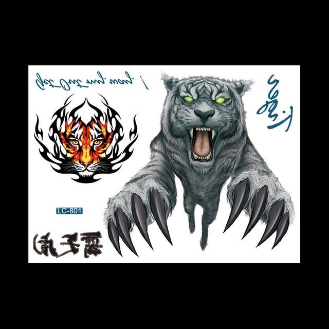 1 Pc Durable Feroce Tigre Blanc Etanche Temporaire Tatouage Lc 801