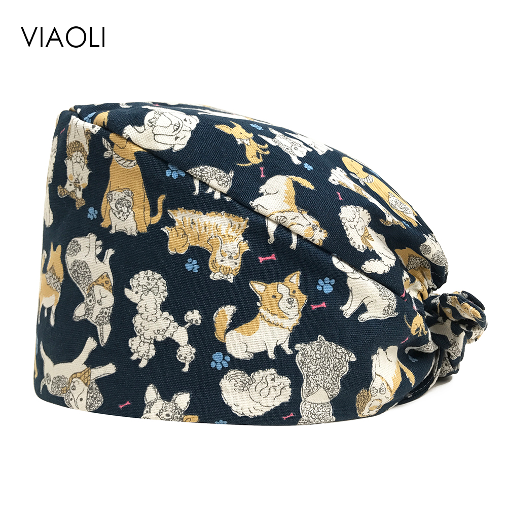 Scrub Surgery Medical Surgical Cap Medical Hospital Dotor And Nurse Working-Wear Printing Animal Adjustable Hat For Opeartion