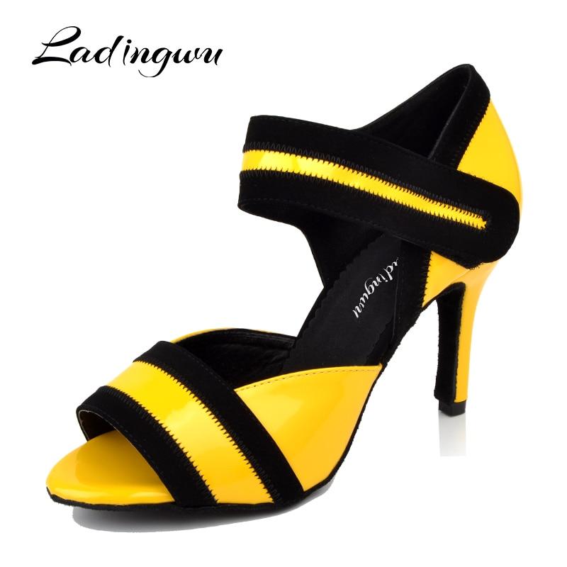 Ladingwu Yellow Shoes Dance Latin Women Tango Waltz Dance Shoes PU Ballroom Dancing Shoes  Woman Zapatos De Baile Latino Mujer