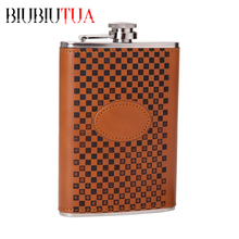 BIUBIUTUA 9oz Alcohol Flask Brown Grid Pattern PU Leather Stainless Steel Mini Hip Flask Camp Outdoor Portable Hip Flask