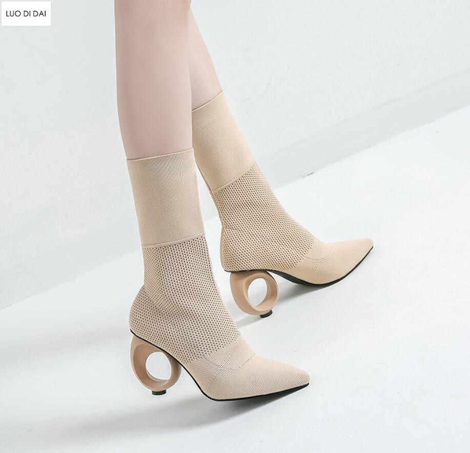 2019 botas de tobillo sexis para mujer, botas de Punta puntiagudas para tejer, botines de calcetín, botas de fiesta con tacón fretwork para mujer