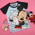 Mujeres de manga corta 100% algodón de agua cielo azul mickey de dibujos animados t-shirt camiseta de la señora