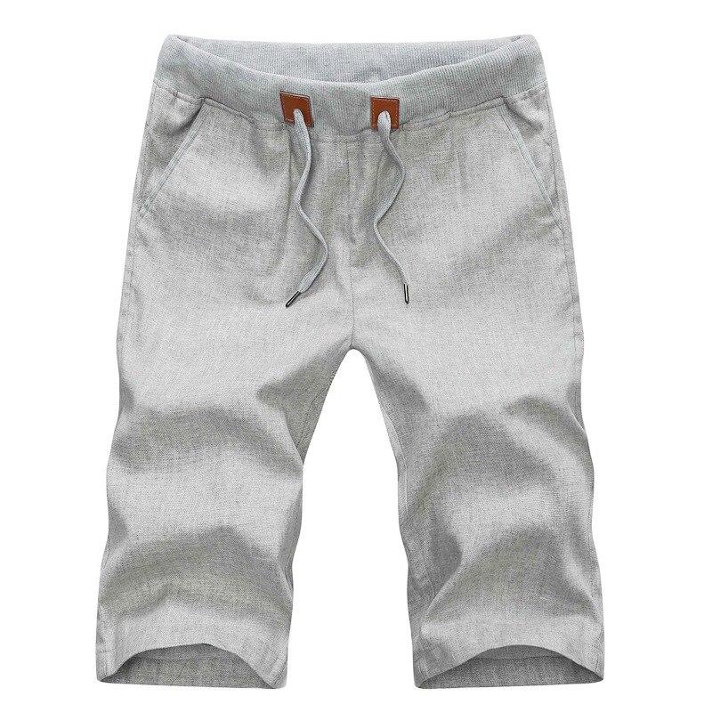 2019 Summer Casual Linen Men Short Pants Solid Slim Comfortable Beach Mens Bermuda Shorts