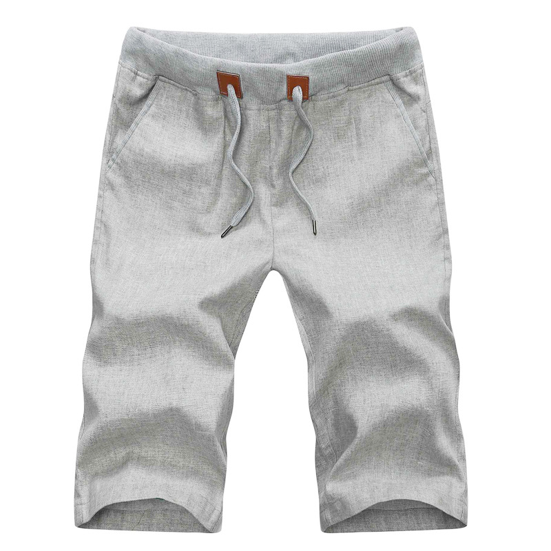 2020 Summer Casual Linen Men Short Pants Solid Slim Comfortable Beach Mens Bermuda Shorts