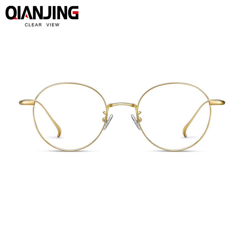 High Quality Titanium Pure IP Plating Material Men and Women Eyeglasses Frame Round Full Rim Hand Made Customized Glasses Frame