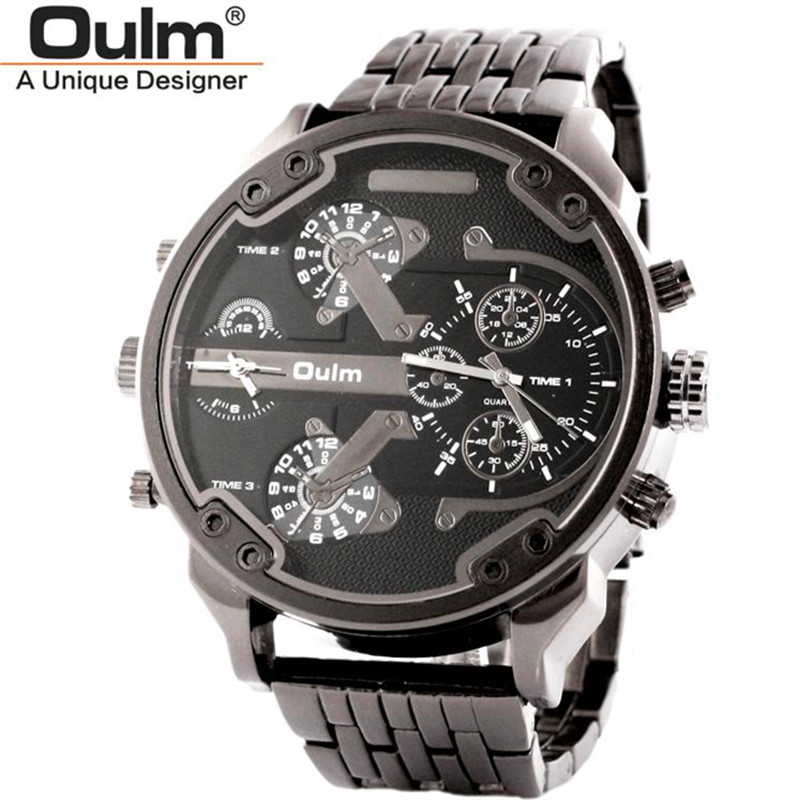 popular oversized watches for men buy cheap oversized watches for new stainless steel oulm 3548 dual time zone men s quartz watch luxury brand gold color oversize