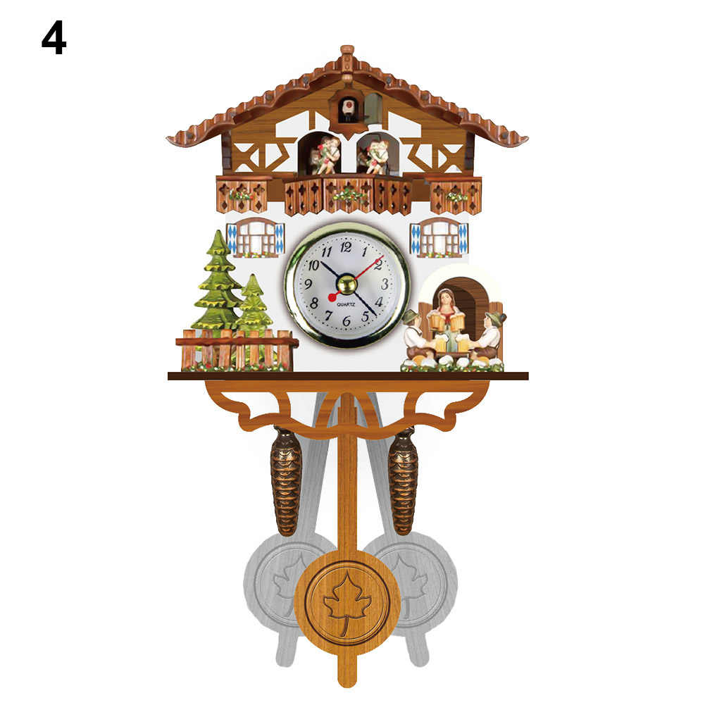 Antique Wooden Cuckoo Wall Clock Bird Time Bell Swing Alarm Watch Home Art Decor H99F
