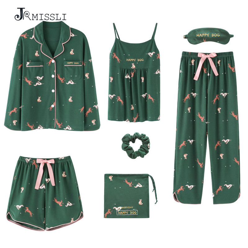 JRMISSLI 7 Pieces Set 100% Cotton Pajamas Sexy Woman Nightie Home Clothes 2019 Autumn Female Shorts Pants
