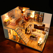 Monter DIY Doll House Toy Wooden Miniatura Doll House Miniatyr Dollhouse leker Med Møbler LED Lights Birthday Gift
