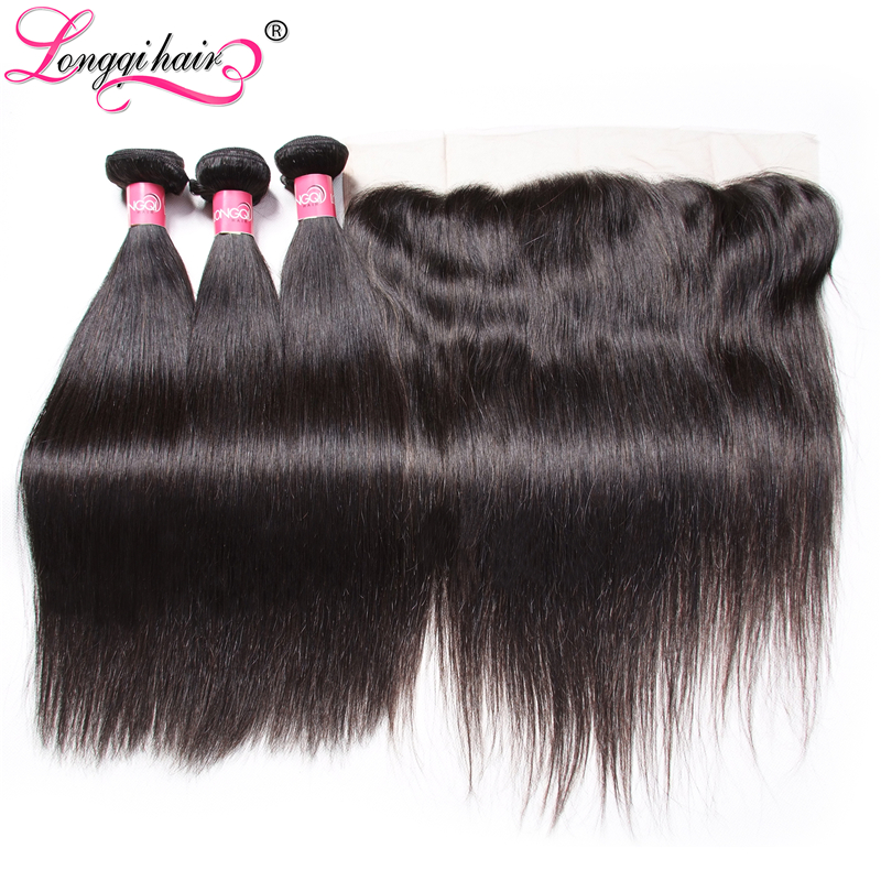 Longqi Hair Brazilian Straight Hair Bundles with Frontal 13x4 Lace Frontal with Bundles Remy Human Hair