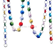 New Arrival Colorful 215cm 14mm Octagonal Bead Chain Wedding Decor Lighting Accessories Crystal Prisms Hanging Chandelier Parts