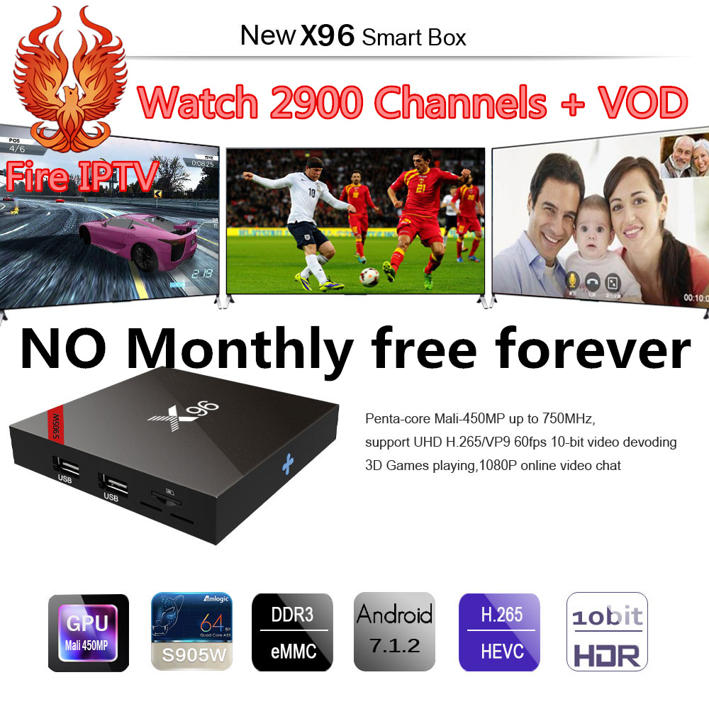 X96 caja de tv Android 7,1 de iptv italia francia Alemania Reino Unido EE. UU. de la caja de tv inteligente android tv box 4 K Media Player X 96 set-top box