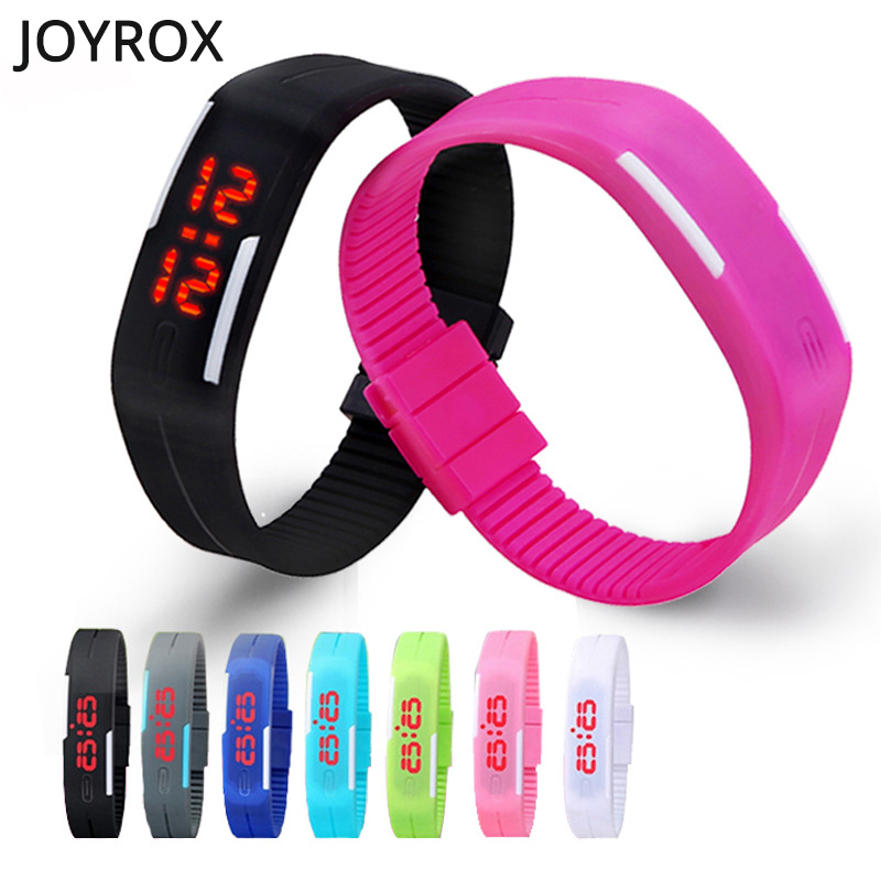 2018 LED Digital Sports Child Watch Candy Color Kid Children Watches Birthday Gift for Boy Girls Watch Rubber LED kids Watches