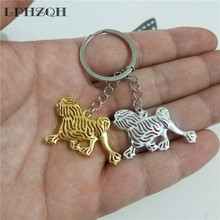 LPHZQH fashion Puppy cute Lowchen dog car key chain women handbag pendant charm accessories Key ring trendy jewelery steampunk