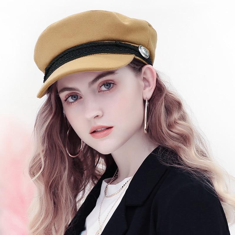 fd79bb1bb68 2018 Trend Winter Hats For Women French Style Wool Baker s Boy Hat Female  Cool Baseball Cap Black Visor Hat Gorras Casquette-in Baseball Caps from  Apparel ...