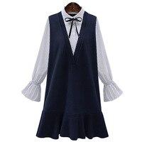 False Two Piece Set Plus Size Women Dresses 3XL 4XL 5XL Spring Vestidos Flare Sleeve Patchwork