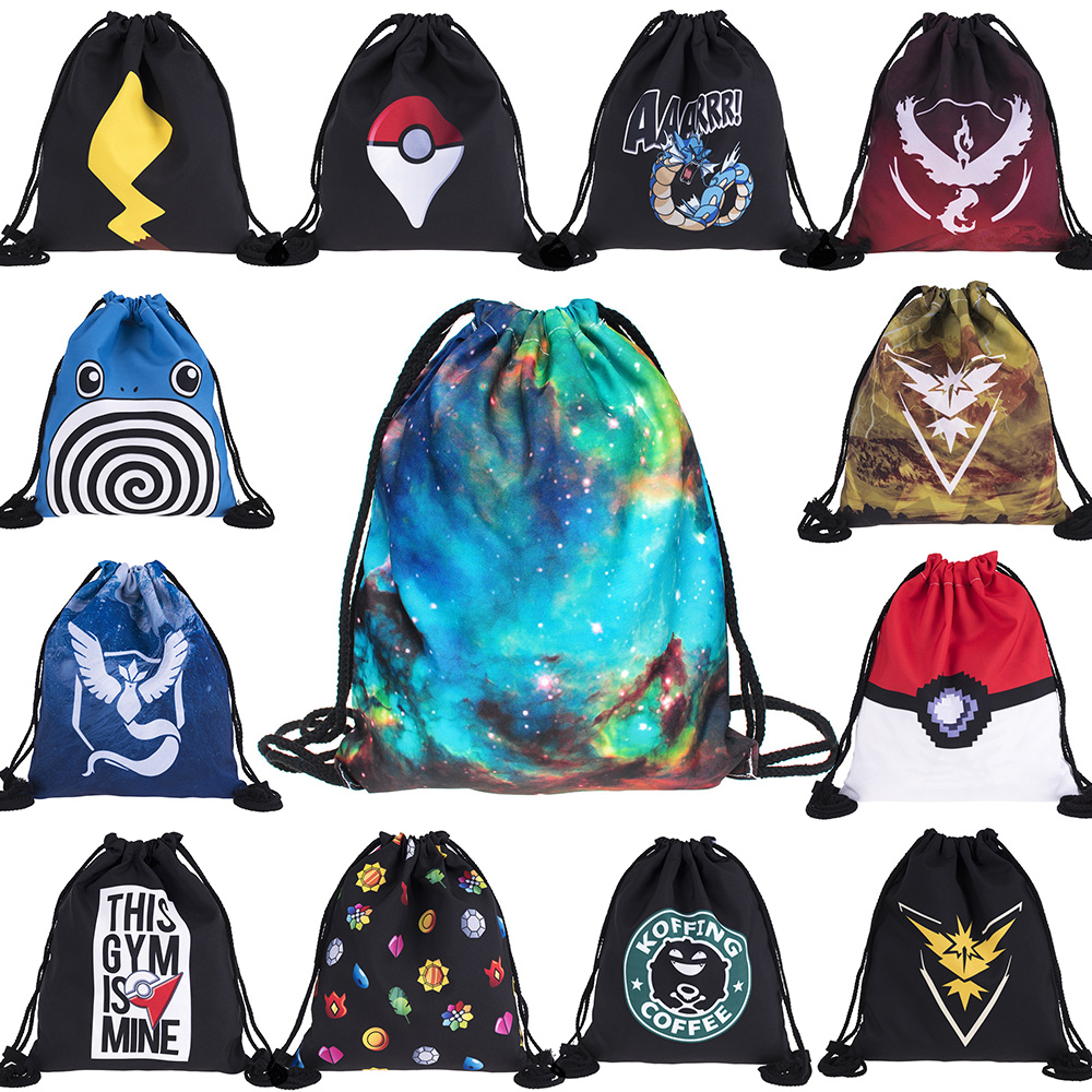 Cool 1Pcs Elf Series Starry Sky Alien Draw String Bag Travel Drawstring Pocket Pokemon Bag Drawstring Backpack Pikachu Schoolbag