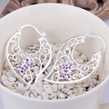 top quality Silver Plated & Stamped 925 flower hollow leafage heart with purple stone earring women wedding trendy jewerly