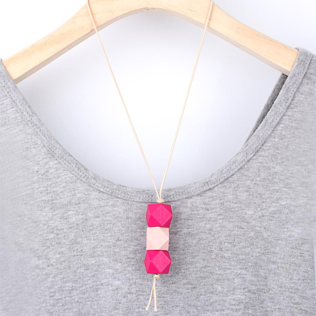 1Pc Geometric Shaped Candy Colors Wooden Beads Necklaces Long Rope Sweater Collar For Women Party Gift Jewelry <font><b>E2640</b></font>-E2642 image