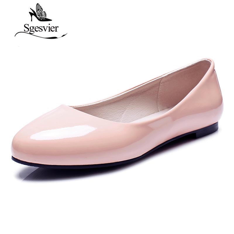 SGESVIER Women Flats Spring New Elegant Classics Dress Plus Size 31-52 Round Head Flat Heels Lady Shoes For Woman Slip On OX084