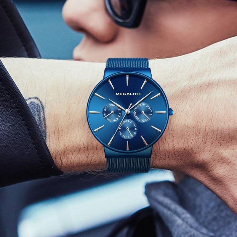MEGALITH Mens Watches Top Brand Luxury Sport Watch Slim Mesh Steel Date Waterproof Quartz Watch For Men Clock Relogio Masculino