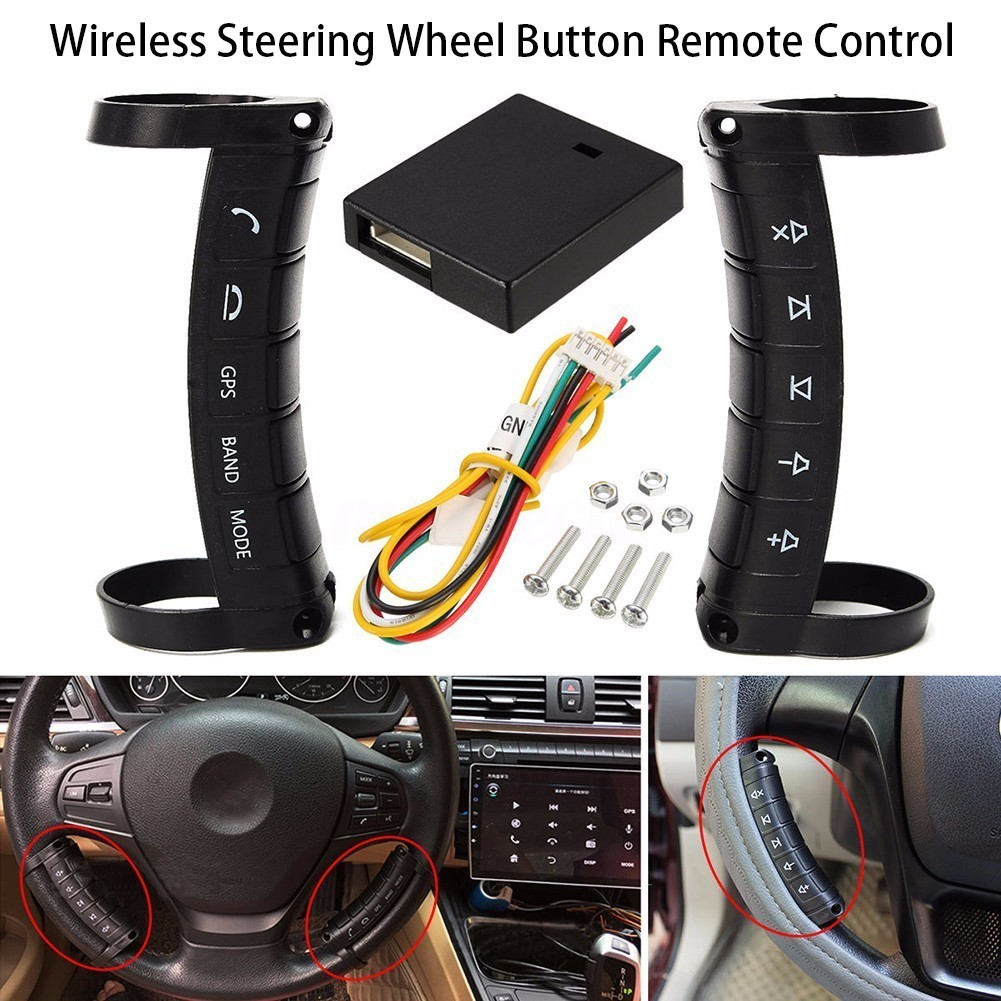 купить Universal Wireless Bluetooth Car steering wheel remote controls use for DVD navigation with direction control function Wholesale по цене 1489.15 рублей