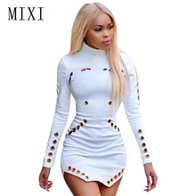 MIXI Black White Hole Hollow Out Sexy Dress Women Rivet Design Turtleneck Long Sleeve Mini Robe Club Party Bodycon Dresses