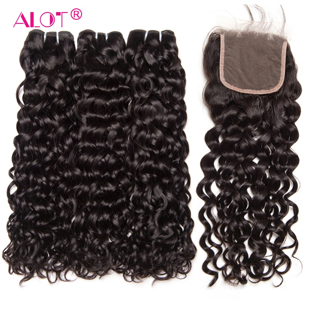 Alot Malaysian Water Wave Hair 3 Bundles With Closure Non Remy Hair Extensions Malaysian Human Hair