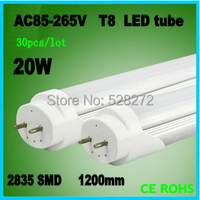 Free Shipping 30pcs Lot Wholesale 20w Aluminum Alloy Tube Led Tube T8 1200mm Top Quality SMD2835