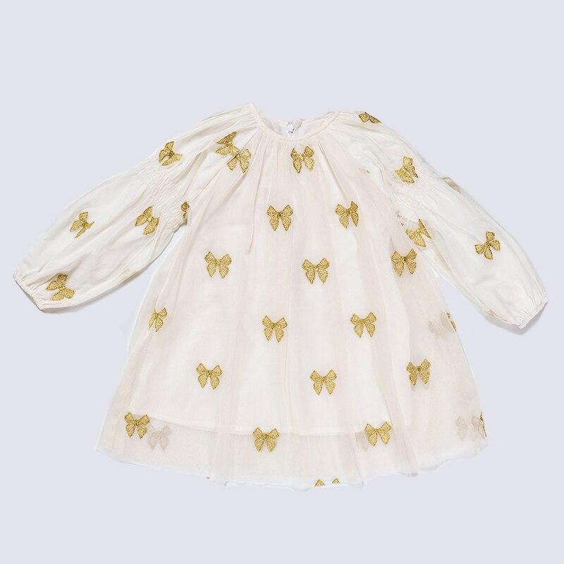5660cf5c8 Vintage Baby Girls Princess Dress Long Sleeve Bows Embroidery Kids ...