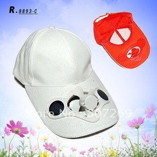 Solar Powered Air Fan Cooled Baseball Hat w/ Solar Panel on the Cap Front Eco Friendly Camping Traveling- White