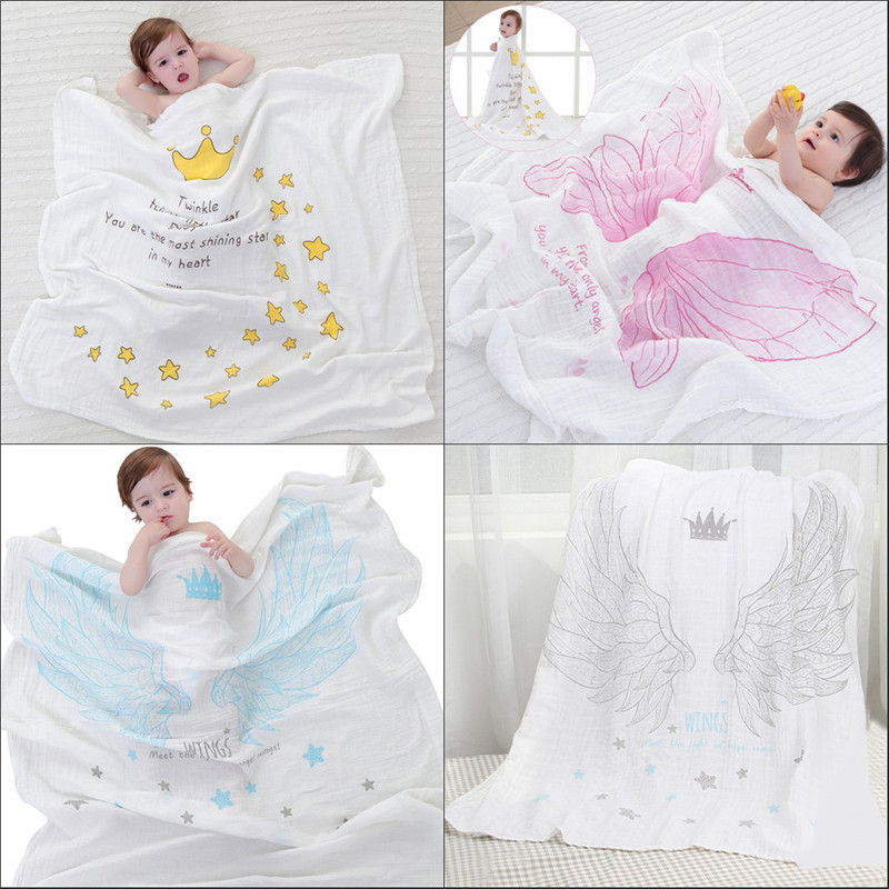 Dual-layer Cotton Baby Blanket Gauze Scarf Bath Towel Newborn Angel Wings Pattern Swaddling Breathable Blanket ...