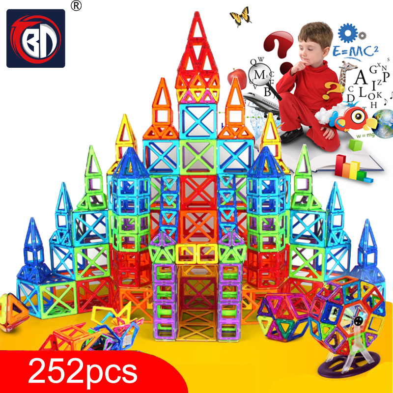 New 252pcs Mini Magnetic Designer Construction Set Model & Building Toy Plastic Magnetic Blocks Educational Toys For Kids Gift 62pcs set magnetic building block 3d blocks diy kids toys educational model building kits magnetic bricks toy
