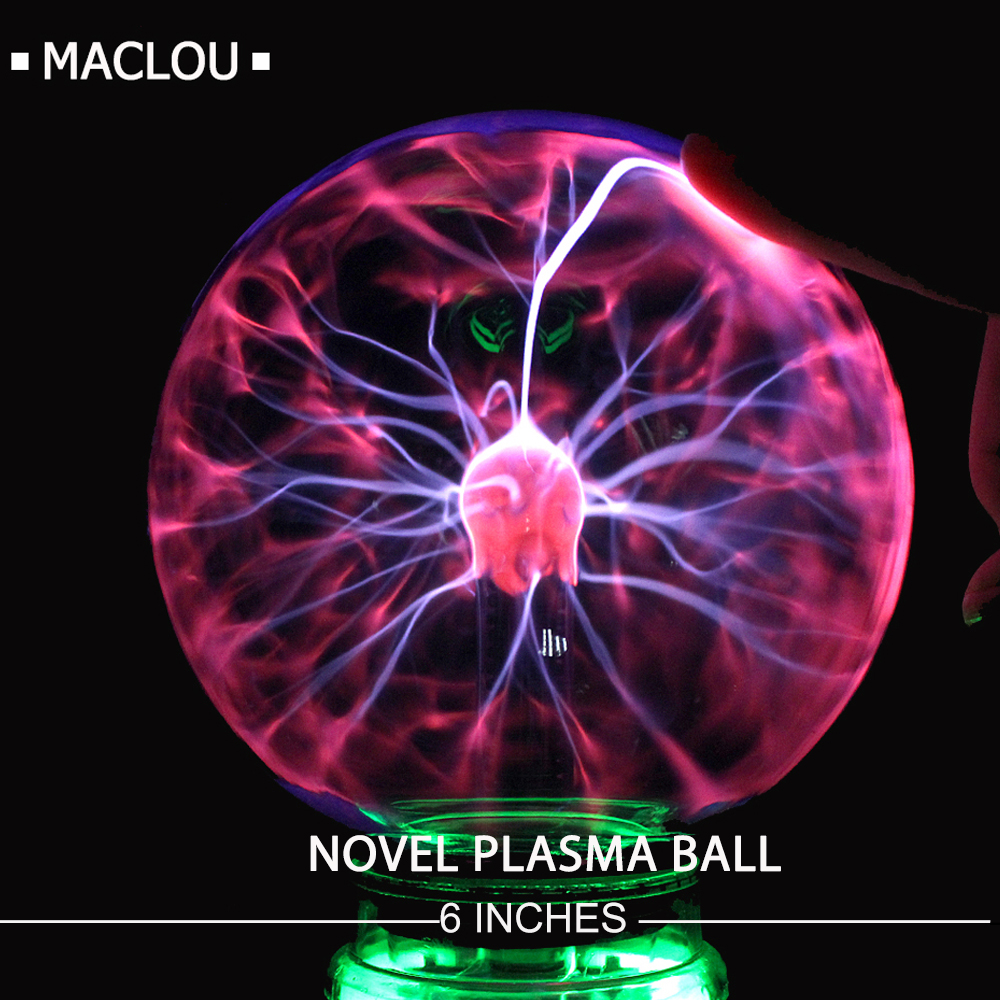 6 Inches EU Plasma Ball Sphere Electric Magic Table Lamp For Bedroom Children's Night Light Novelty Lighting Party Home Decor