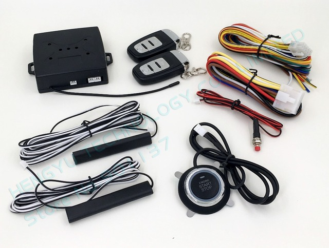 PKE car alarm system push start stop button,passive keyless entry,remote engine start,auto lock car door,no siren HY-904 RM2A